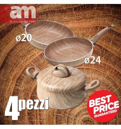 SET 4 Pezzi Antiaderente effetto legno - ARBOREA