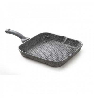 Bistecchiera antiaderente effetto pietra quadrata cm.28*28 - Cuore di Pietra