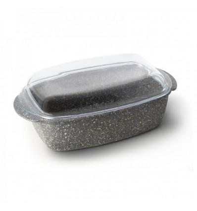 Roastbeefiera antiaderente effetto pietra con coperchio/pirofila in vetro cm.32x21