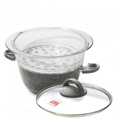 Casseruola antiaderente effetto pietra con vaporiera e coperchio cm.20 - Cuore di Pietra