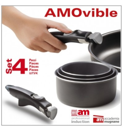 Tris di Casseruole con rivestimento antiaderente con manico removibile AMOvible Induction