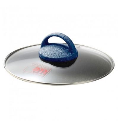 Coperchio in vetro con pomolo cm.16 - Granito Blu